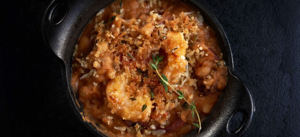 Camellias Shrimp Andouille and White Bean Cassoulet