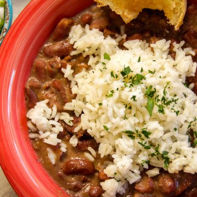 Red Beans and Rice in a Bowl Coked in a Slow Cooker