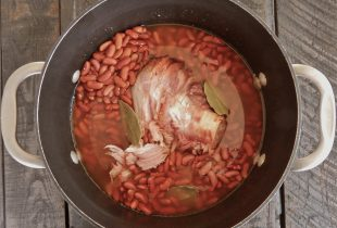 Hambone and Red Beans in Pot
