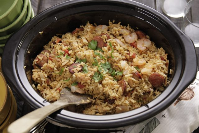 Camellia Jambalaya Dinner Mix cooked in a slow cooker