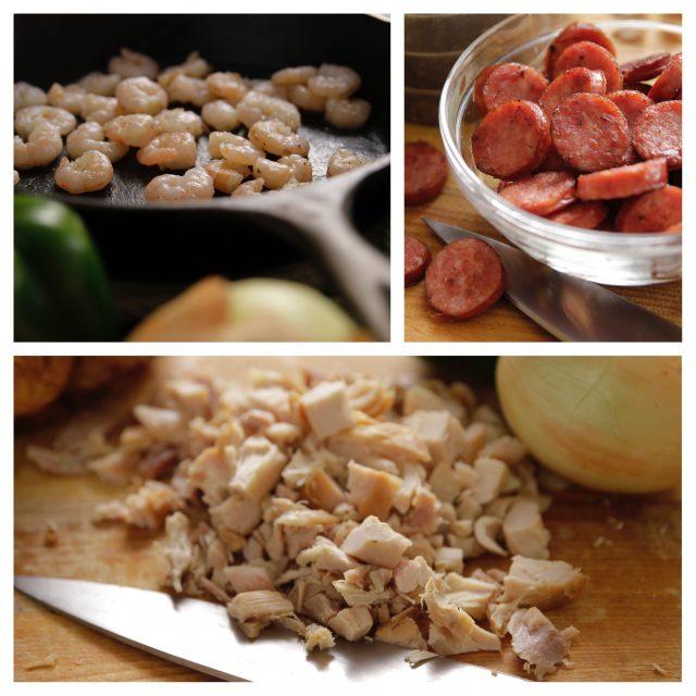 Shrimp, sausage and chicken to add to Camellia Jambalaya Dinner Mix