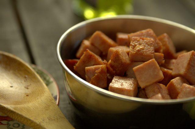diced ham in metal bowl