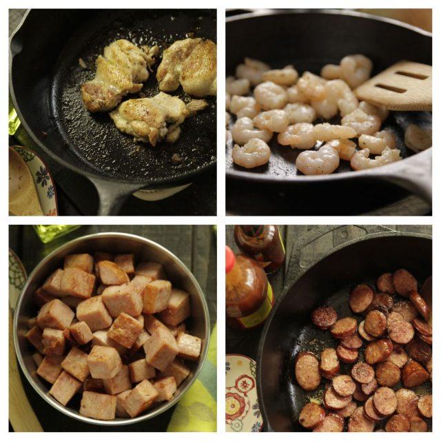 Boneless, skinless chicken thighs, shrimp, smoked ham and smoked sausage to go in Camellia Jambalaya Dinner Mix