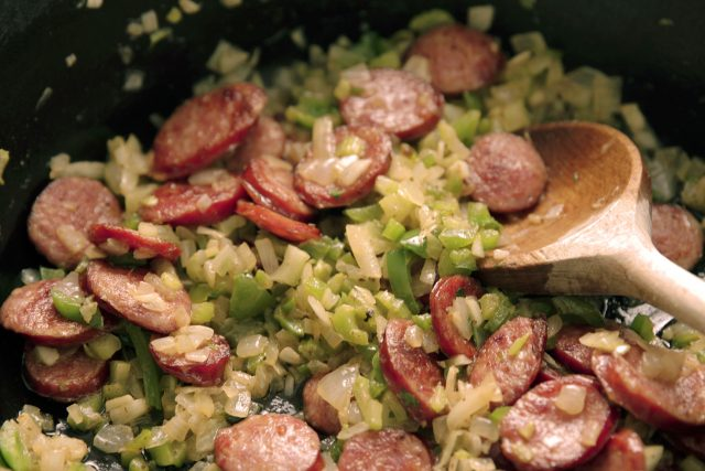 The trinity sautéed with smoked sausage - the basis for delicious red beans and rice