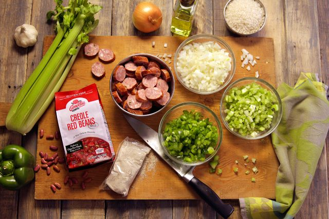 Camellia Creole Red Beans Mix and the additional ingredients to make it