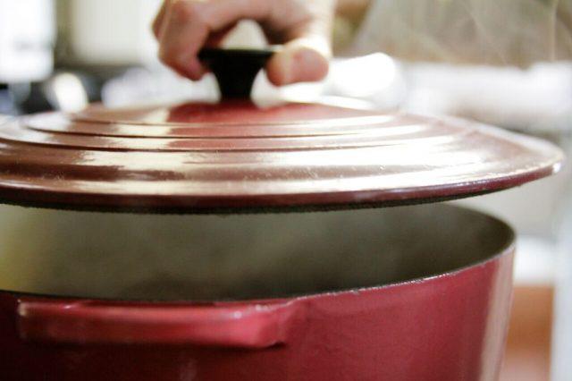 Making a big pot of Camellia Chipotle Black Bean Soup
