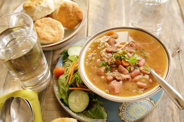 Slow Cooker Creole Chicken & Red Bean Gumbo served up as a hearty family meal