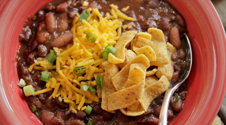 slow cooker 3 bean vegetarian chili recipes camellia brand