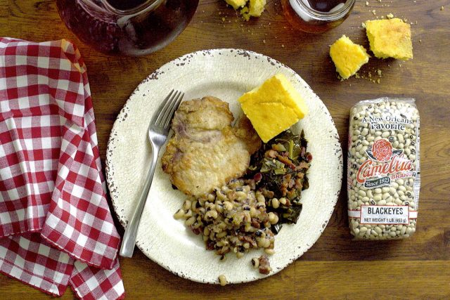 Pan Fried Pork Chops, Blackeye Peas & Collard Greens