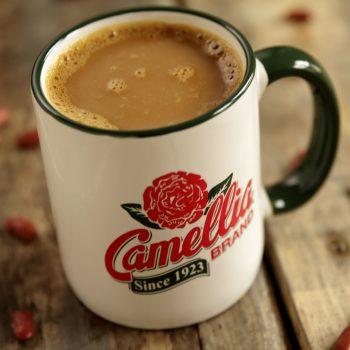 Camellia mug on wood cropped