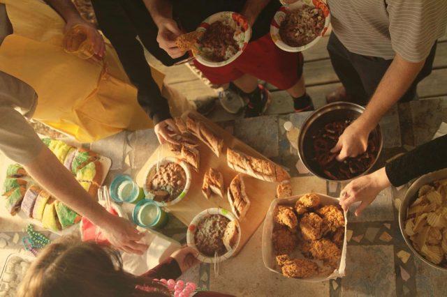 Outdoor Mardi Gras party - buffet spread
