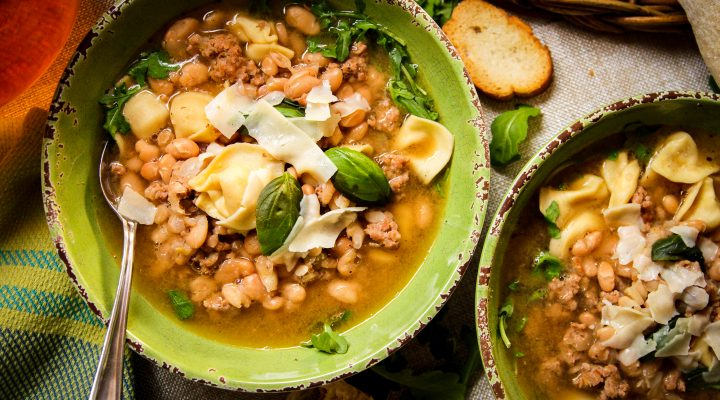 White Bean, Sausage and Tortellini Soup