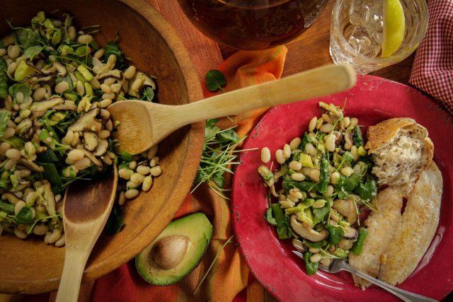 Warm Asparagus, Mushroom and White Bean Salad