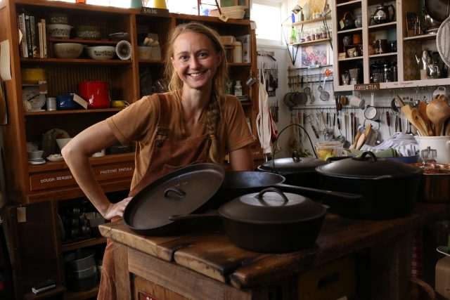 Betsy Lindell owns SEASONED, a vintage cookware shop in New Orleans with her cast iron pots