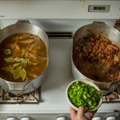 Photo by Chris Granger, from SeriousEats.com interview. Pableaux Johnson cooking gumbo in his Magnalite pot.