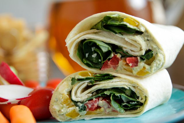 Wrap Sandwich with White Bean Hummus and Greens