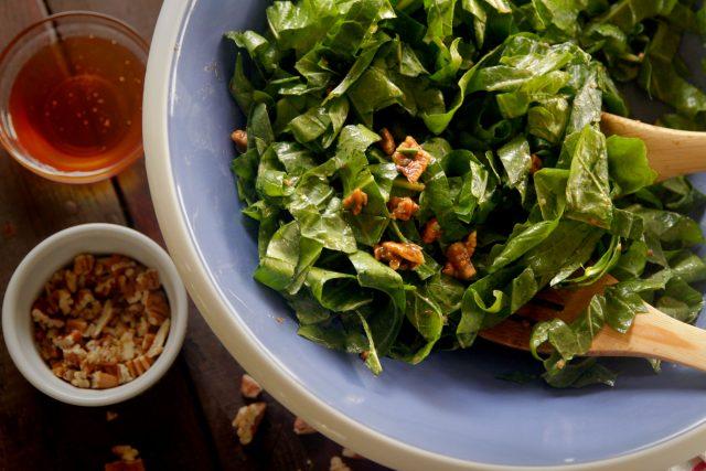 Warm Wild Green Salad with Pecan Dressing